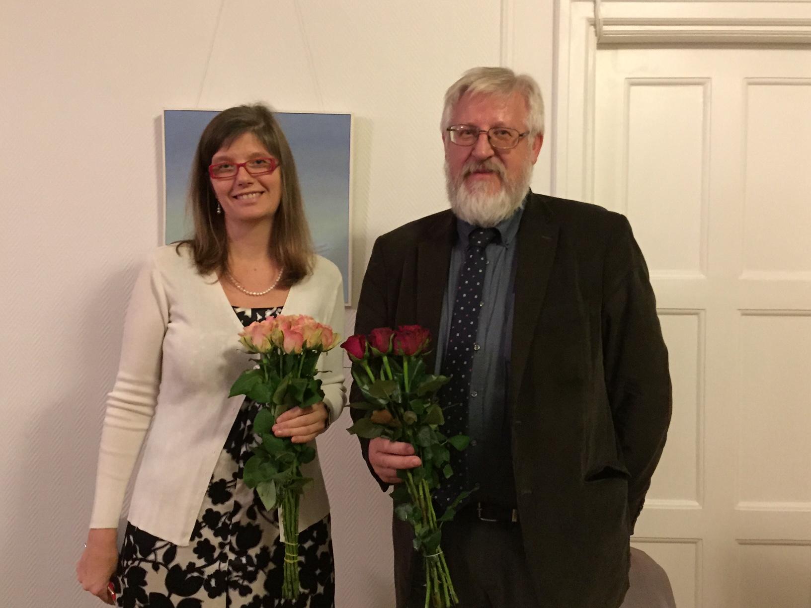 ETSR esinaine Evelin Tamm ja Eesti Teaduste Akadeemia president prof. Tarmo Soomere
